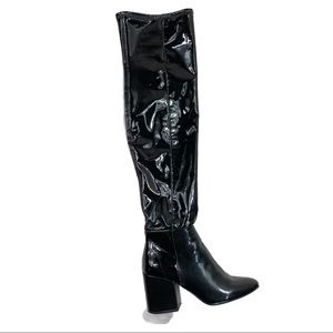 Aldo Belinna Over the Knee Patent Chunky Boots 8